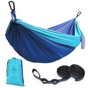 Kootek Sky Blue Lightweight Nylon Parachute Hammocks Portable Double Camping Hammock Tree Hammock with 2 Adjustable Hanging Straps for Backpacking, Travel, Beach, Backyard, Hiking