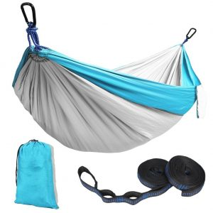 Kootek Blue Lightweight Nylon Parachute Hammocks Portable Double Camping Hammock Tree Hammock with 2 Adjustable Hanging Straps for Backpacking, Travel, Beach, Backyard, Hiking