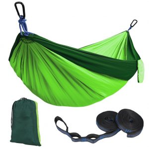 Kootek Green Lightweight Nylon Parachute Hammocks Portable Double Camping Hammock Tree Hammock with 2 Adjustable Hanging Straps for Backpacking, Travel, Beach, Backyard, Hiking