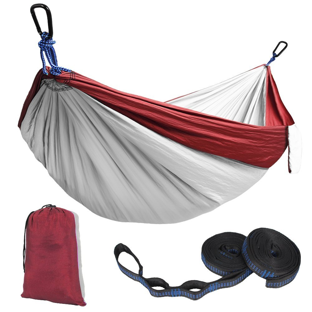 kootek red lightweight nylon parachute hammocks portable double camping hammock tree hammock with 2 adjustable hanging straps for backpacking travel     kootek red lightweight nylon parachute hammocks portable double      rh   ikootek