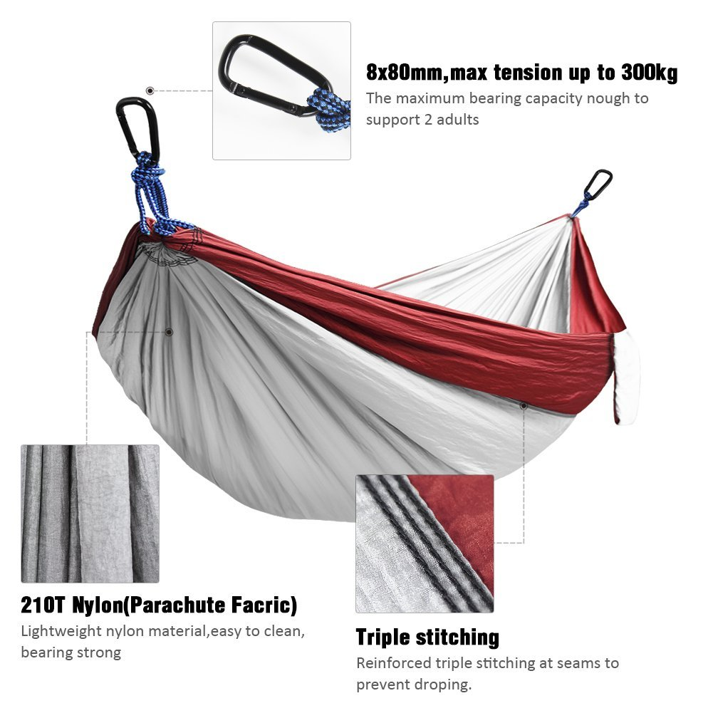 Kootek Red Lightweight Nylon Parachute Hammocks Portable Double Camping  Hammock Tree Hammock With 2 Adjustable Hanging Straps For Backpacking,  Travel, ...