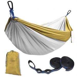 Kootek Yellow Lightweight Nylon Parachute Hammocks Portable Double Camping Hammock Tree Hammock with 2 Adjustable Hanging Straps for Backpacking, Travel, Beach, Backyard, Hiking